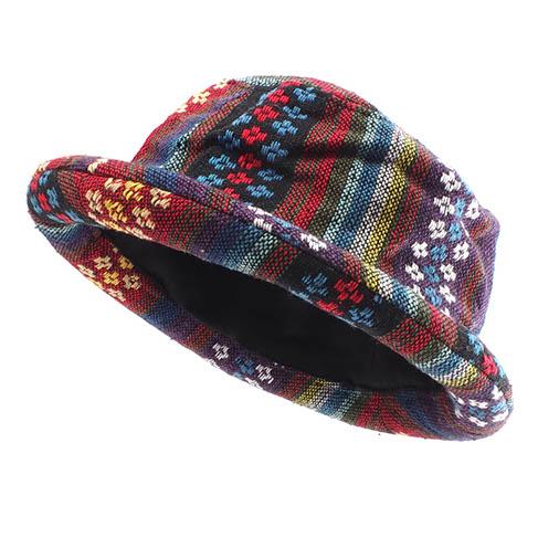 Woven Fabric Roll Brim Hat