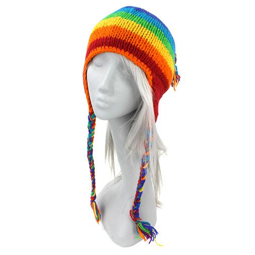 Wool Earflap Hat - Rainbow