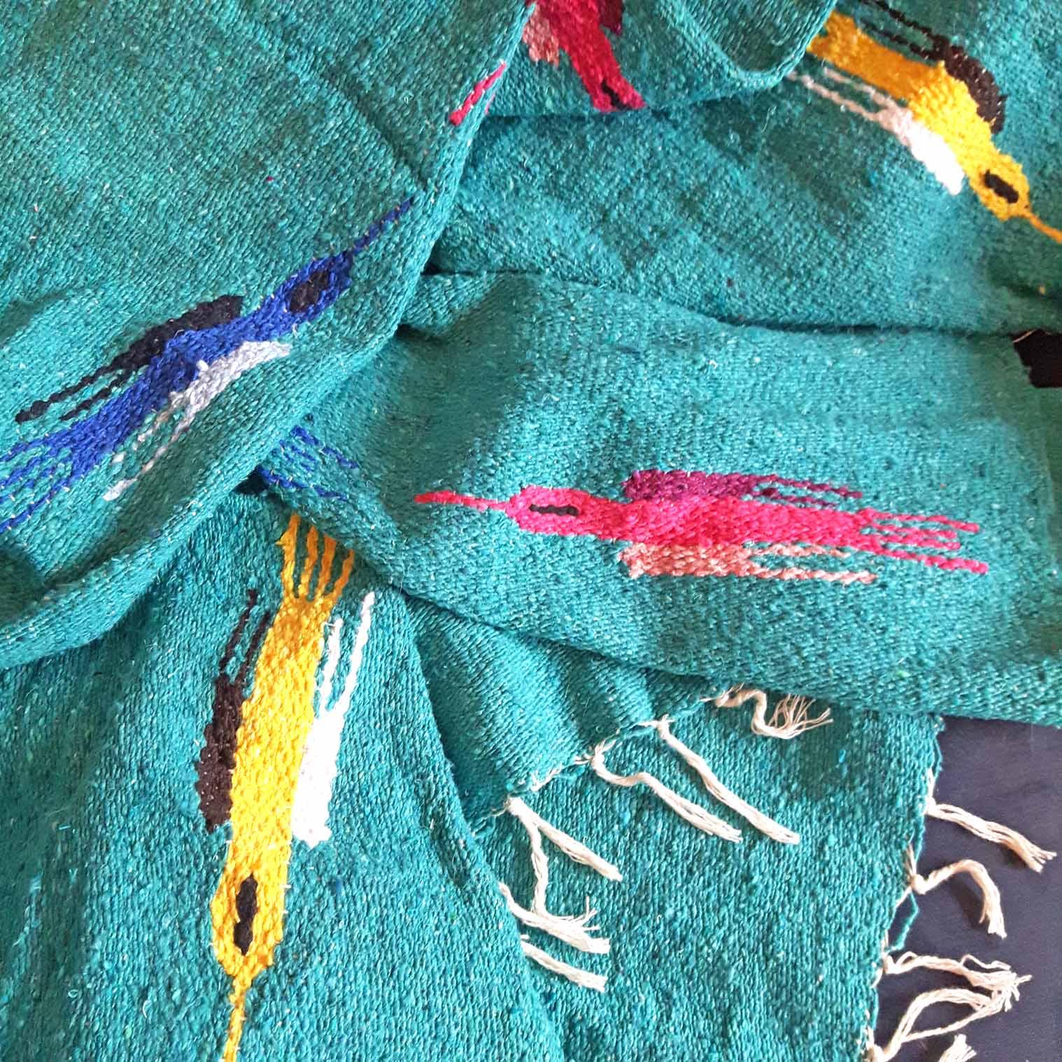 Mexican Bird Blanket - Light Teal