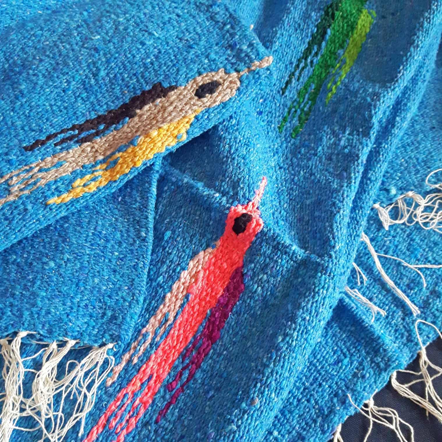 Mexican Bird Blanket - Blue