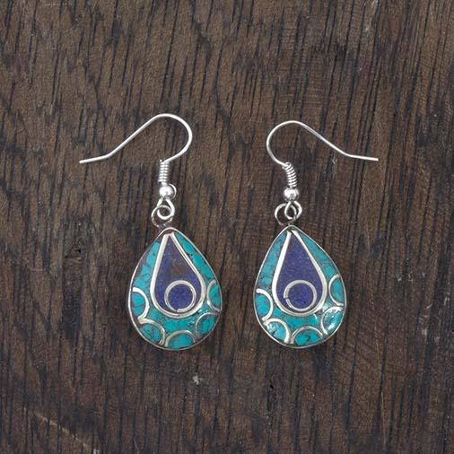 Blue Tear Nepalese Earrings
