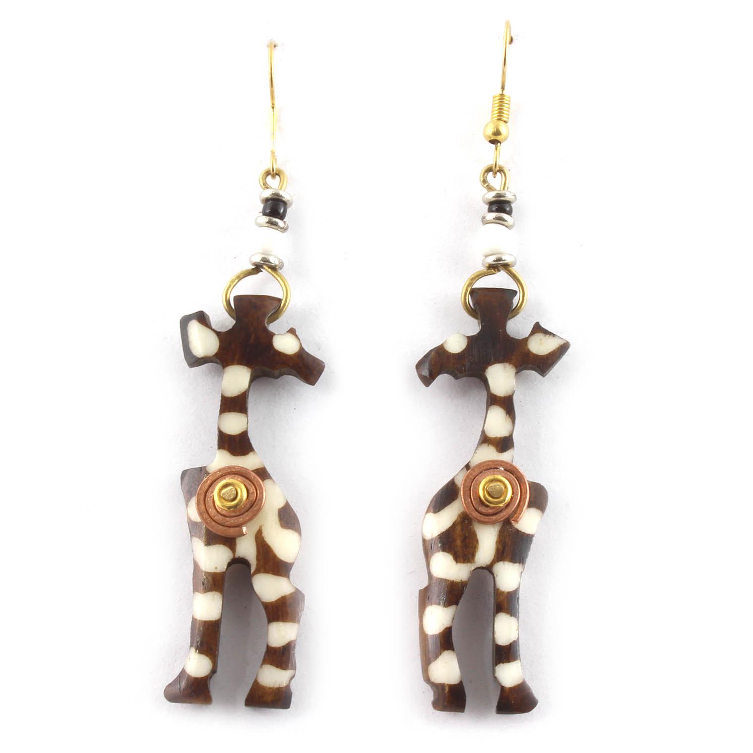 Spiral Standing Giraffe Earrings