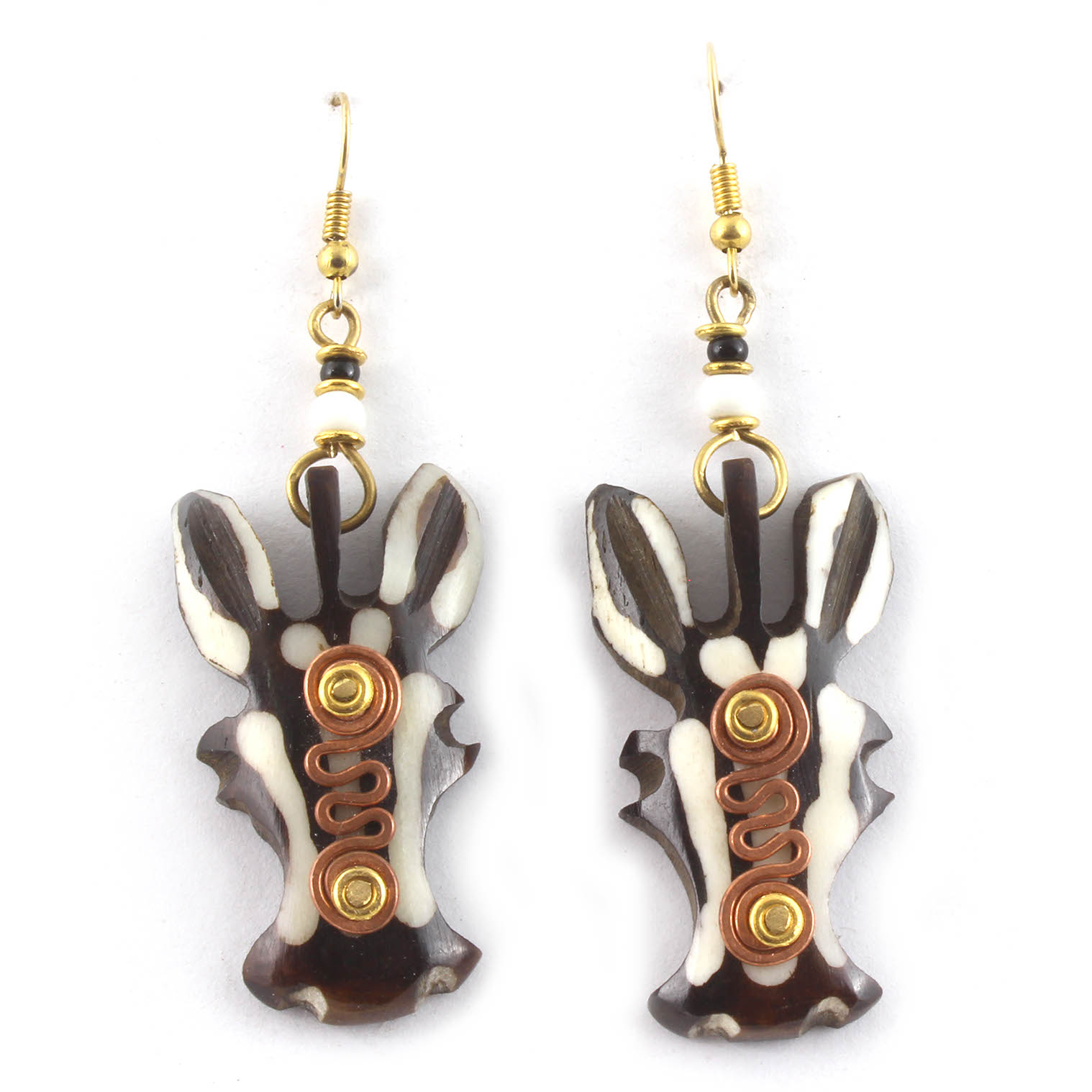 Spiral Zebra Head Earrings