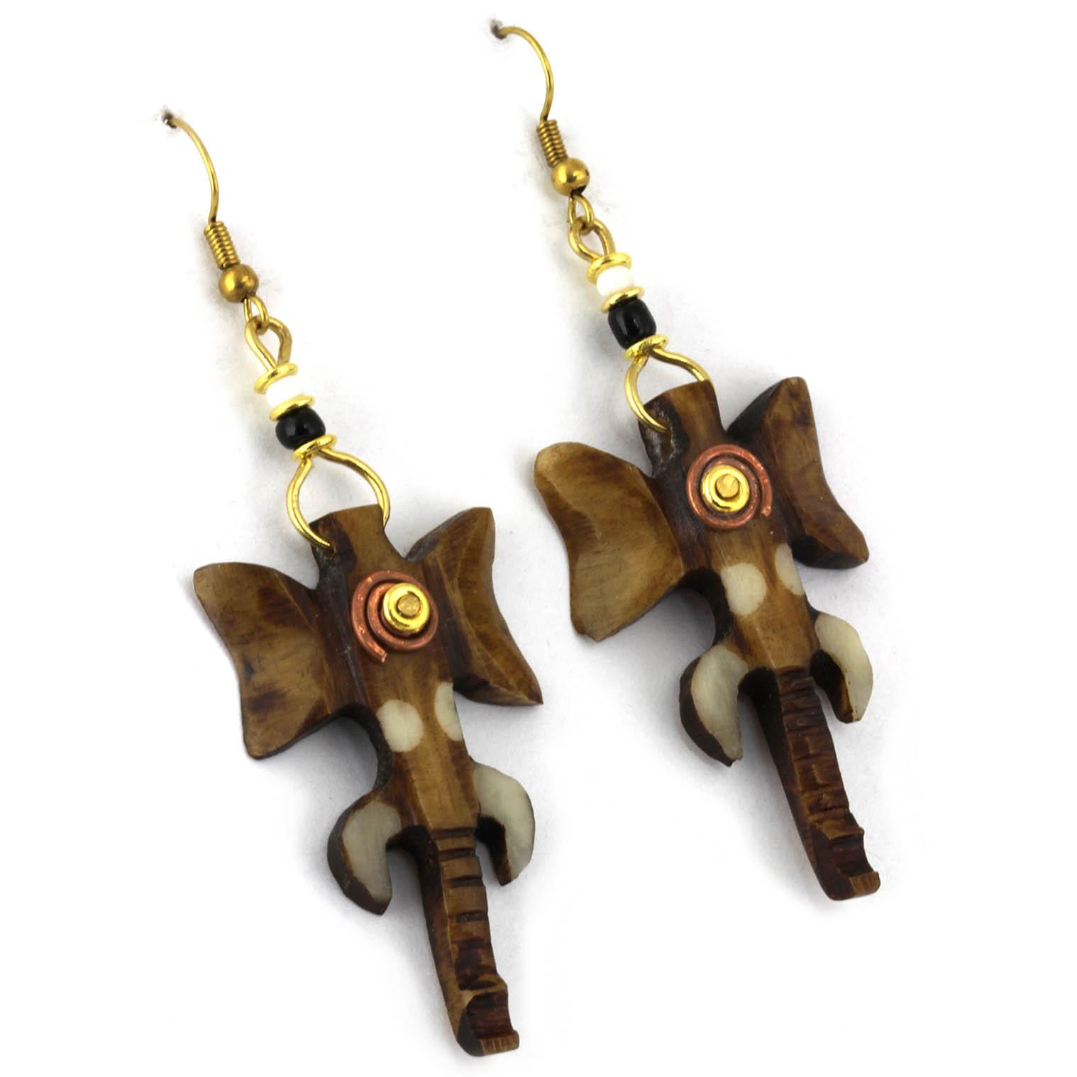 Spiral Elephant Head Earrings