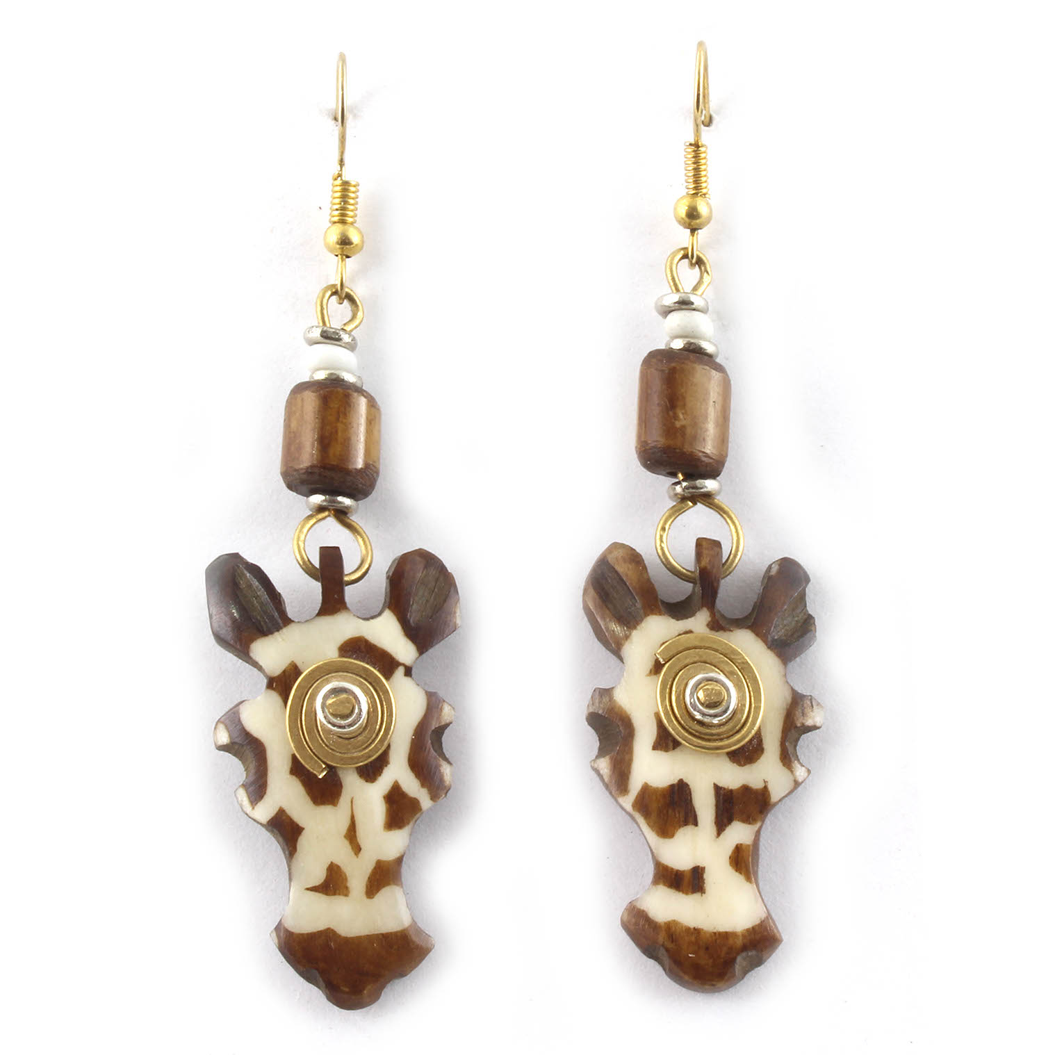 Spiral Giraffe Head Earrings