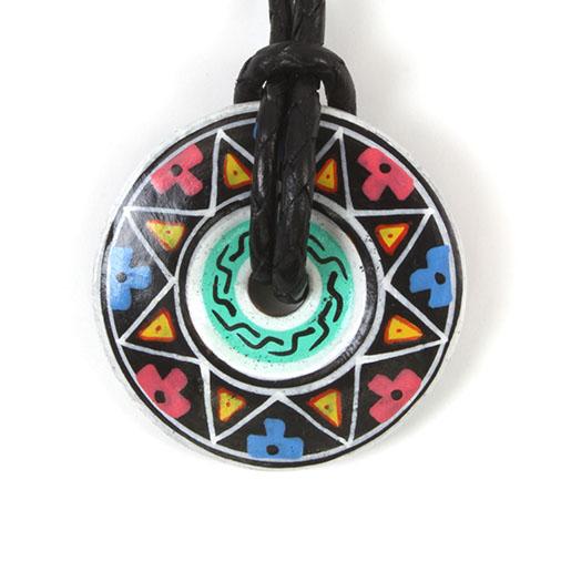 Inca Wheel Ceramic Pendant