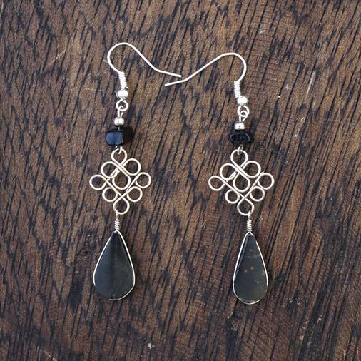 Stone Drop Loop Earrings