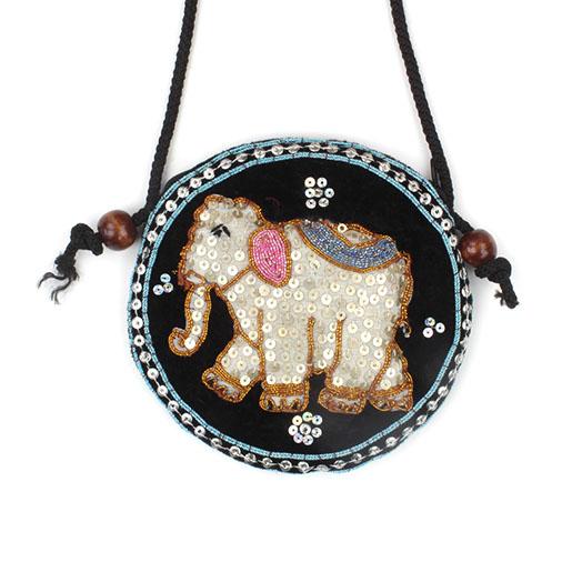 Round Elephant Sequin Purse