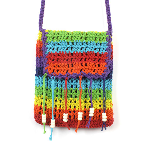 Thailand Rainbow Crochet Shoulder Bag Handmade