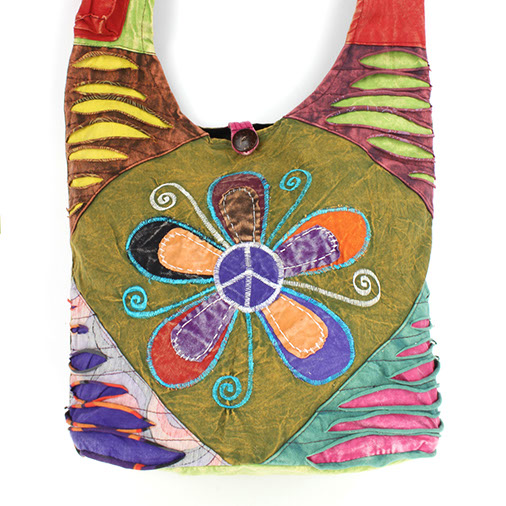 Peace Flower Ripped Cotton Satchel