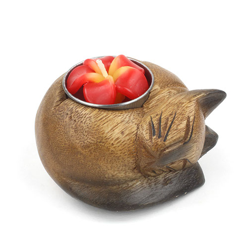 Curled Cat Tealight Holder