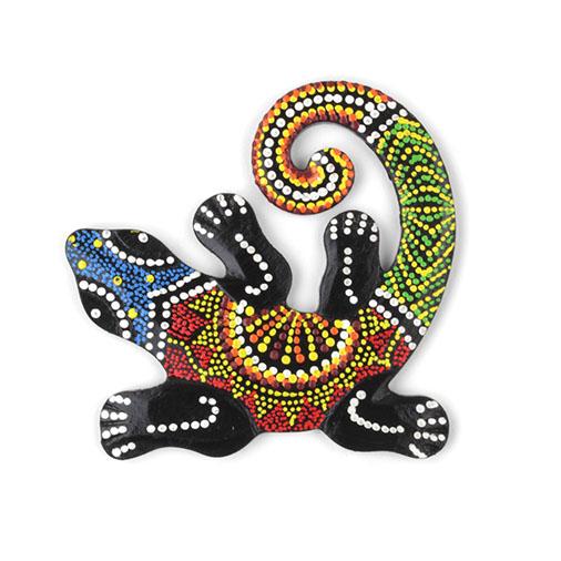 Dot Painted Gecko Wood Carving Handmade Fair Trade From Siesta