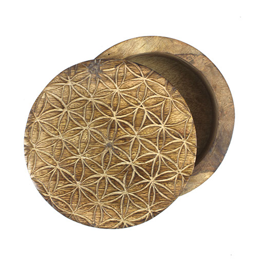 Flower of Life Mango Wood Swivel Box