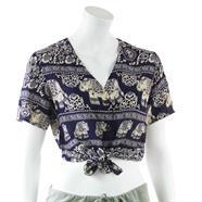 Elephant Print Ladies Tie Shirt