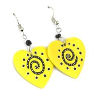 Soapstone Patterned Heart Earrings