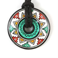 Inca Wheel Ceramic Pendant