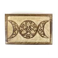 Triple Goddess Mango Wood Box