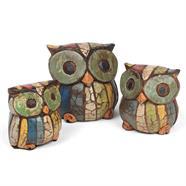 Set of Rustic Owl Carvings