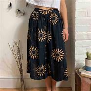 Black Sun Button Skirt