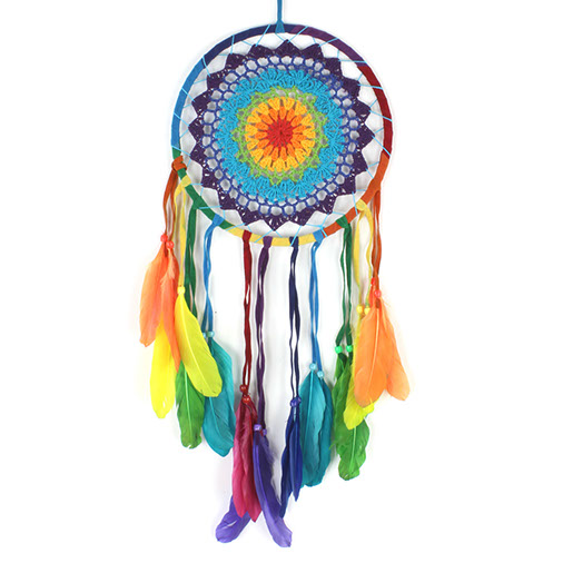 Extra Large Rainbow Crochet Dreamcatcher
