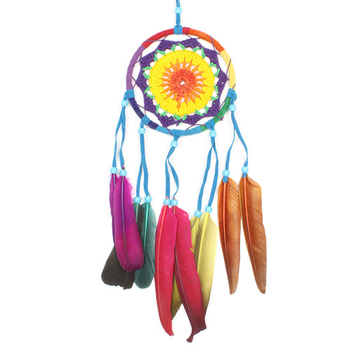 Large Rainbow Crochet Dreamcatcher