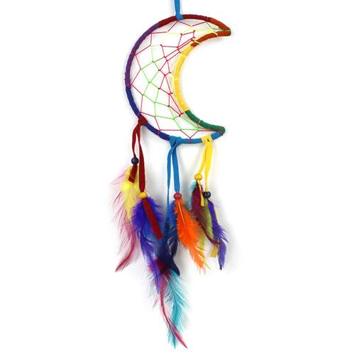 Rainbow Crescent Moon Dreamcatcher