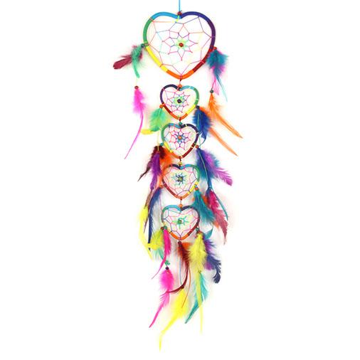 Rainbow Heart Dreamcatcher Chain