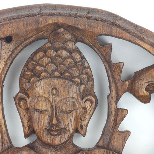 Round Carved Wooden Sitting Buddha Plaque From Siesta