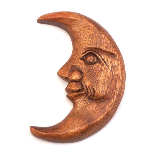 Wooden Moon Carving With Face From Acacia Wood