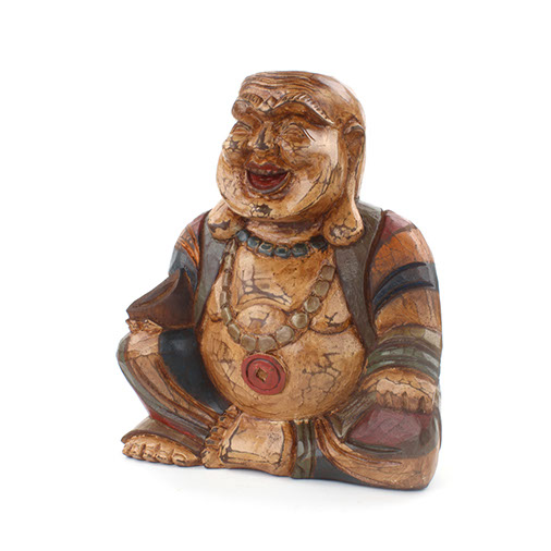 Buy Antique Handcrafted Buddha Lantern For Corporate: Rustic Laughing Buddha Budai Woodcarving Handmade Fair