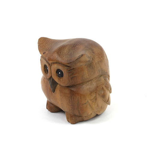 Hand carved small thai owl acacia woodcarving