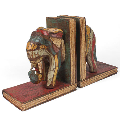 Handcarved Elephant Bookends Balinese Fair Trade from Siesta