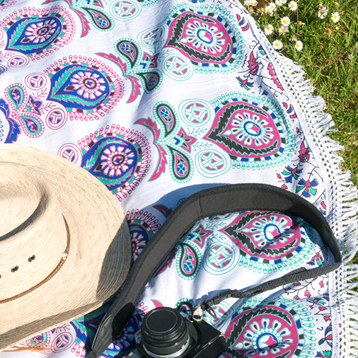 Round Indian Throw Bedspread Circular Peacock Blanket Siesta