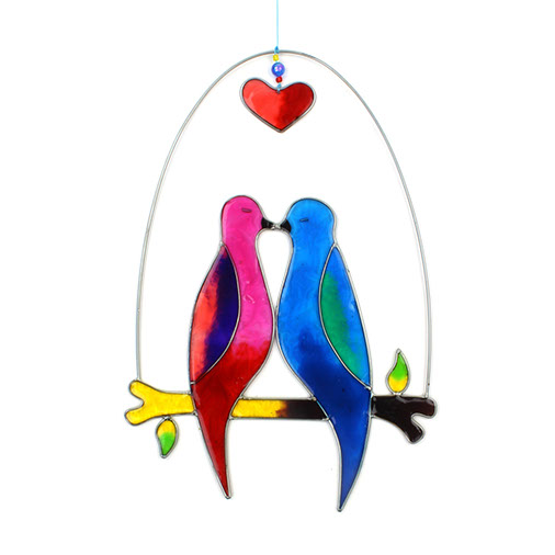 Large Lovebirds Suncatcher Resin Mobile Hanging Handmade