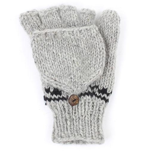 Grey & Black Flap Gloves