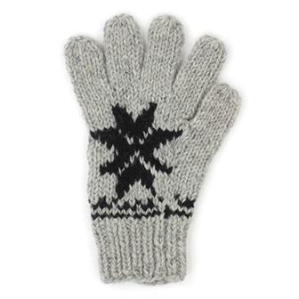 Grey & Black Woollen Gloves