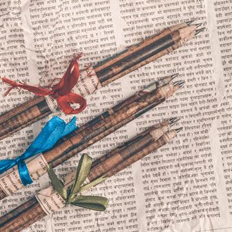 Newspaper Pencils - Ribbon