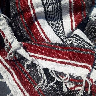 Mexican Falsa Blanket - Maroon