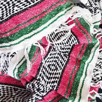 Mexican Falsa Blanket - Green and Pink
