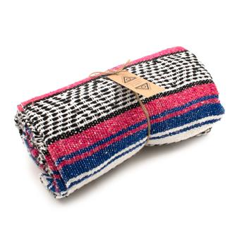 Mexican Falsa Blanket - Blue and Pink