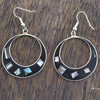 Elena Black Shell Earrings