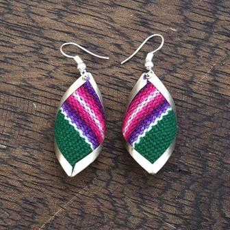 Diamond Shell Peruvian Fabric Earrings