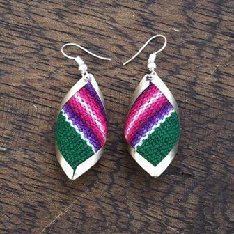 Diamond Shell Peruvian Fabric Earrings