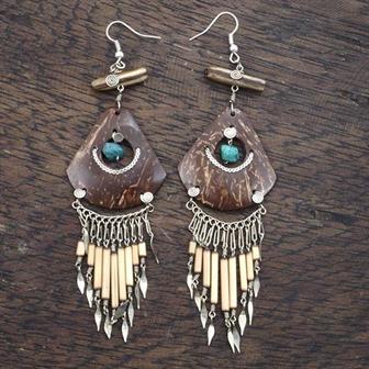 Natural Rainforest Stone Earrings