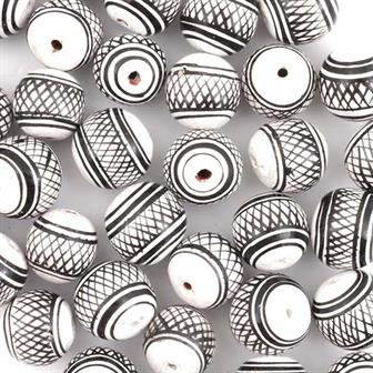 Black & White Crosshatch Ball Bead