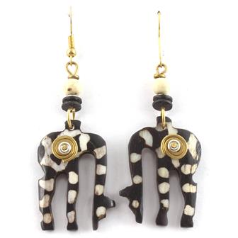 Spiral Eating Giraffe Earrings
