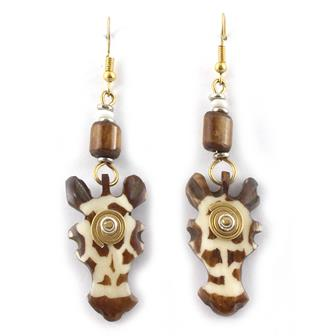 Spiral Giraffe Head Earrings