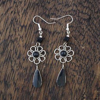 Stone Drop Flower Earrings