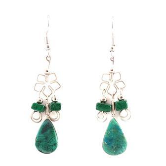 Flower Stone Drop Earrings
