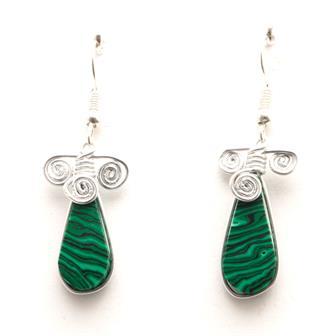 Stone Drop Triple Spiral Earrings